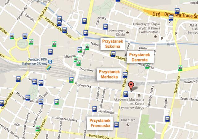 Mapa przystanków Katowice